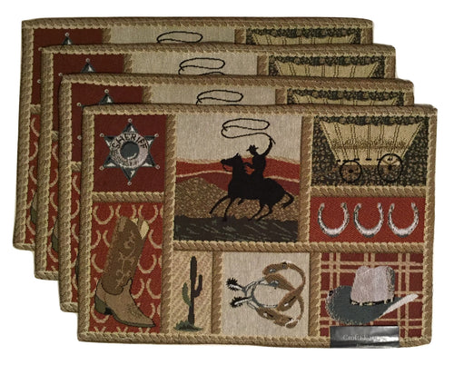 Tapestry Placemats Wild West Croft Barrow Set of 4 Cowboy Western
