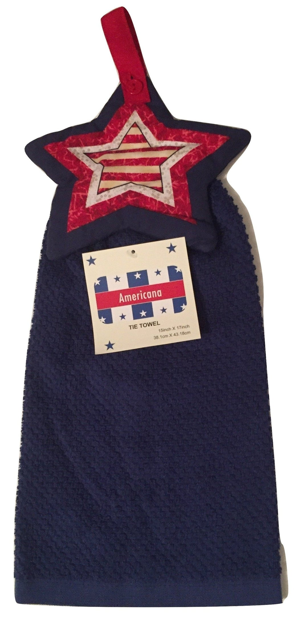 Decorative Americana Patriotic Blue Star Flag Hanging Kitchen Towel