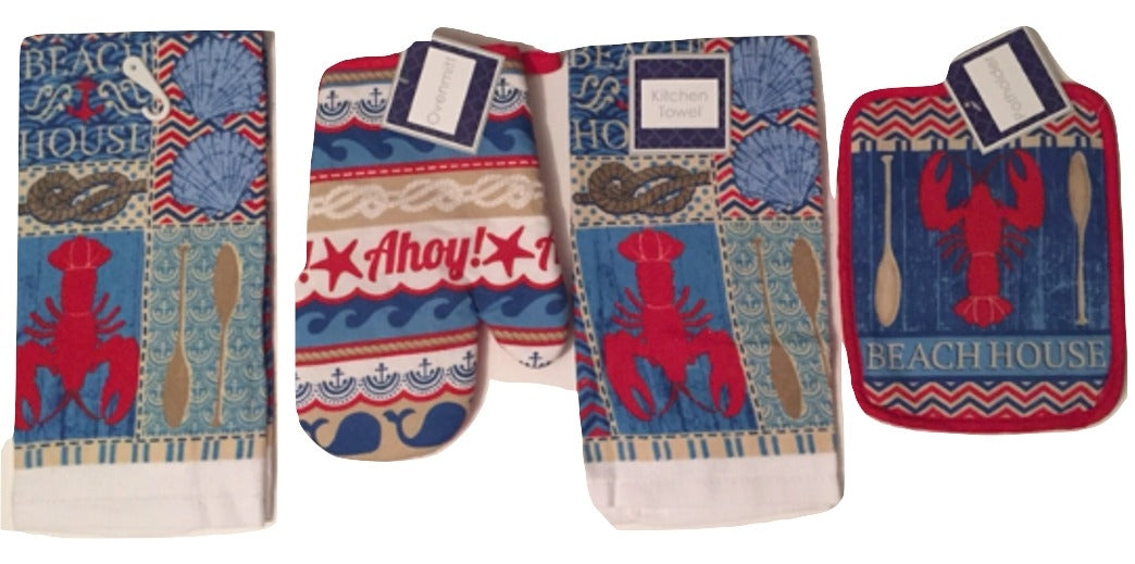 Nautical Beach House Lobster 4 pc kitchen towels potholder oven mitt set