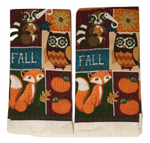 Fall Owl Raccoon Fox 4 pc kitchen towels potholder oven mitt set Autumn