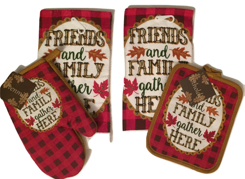 Red Friends Family Gather Here 4 pc kitchen towels potholder oven mitt set Fall