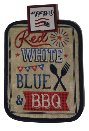 Americana Patriotic Red White Blue BBQ 4th of July potholder