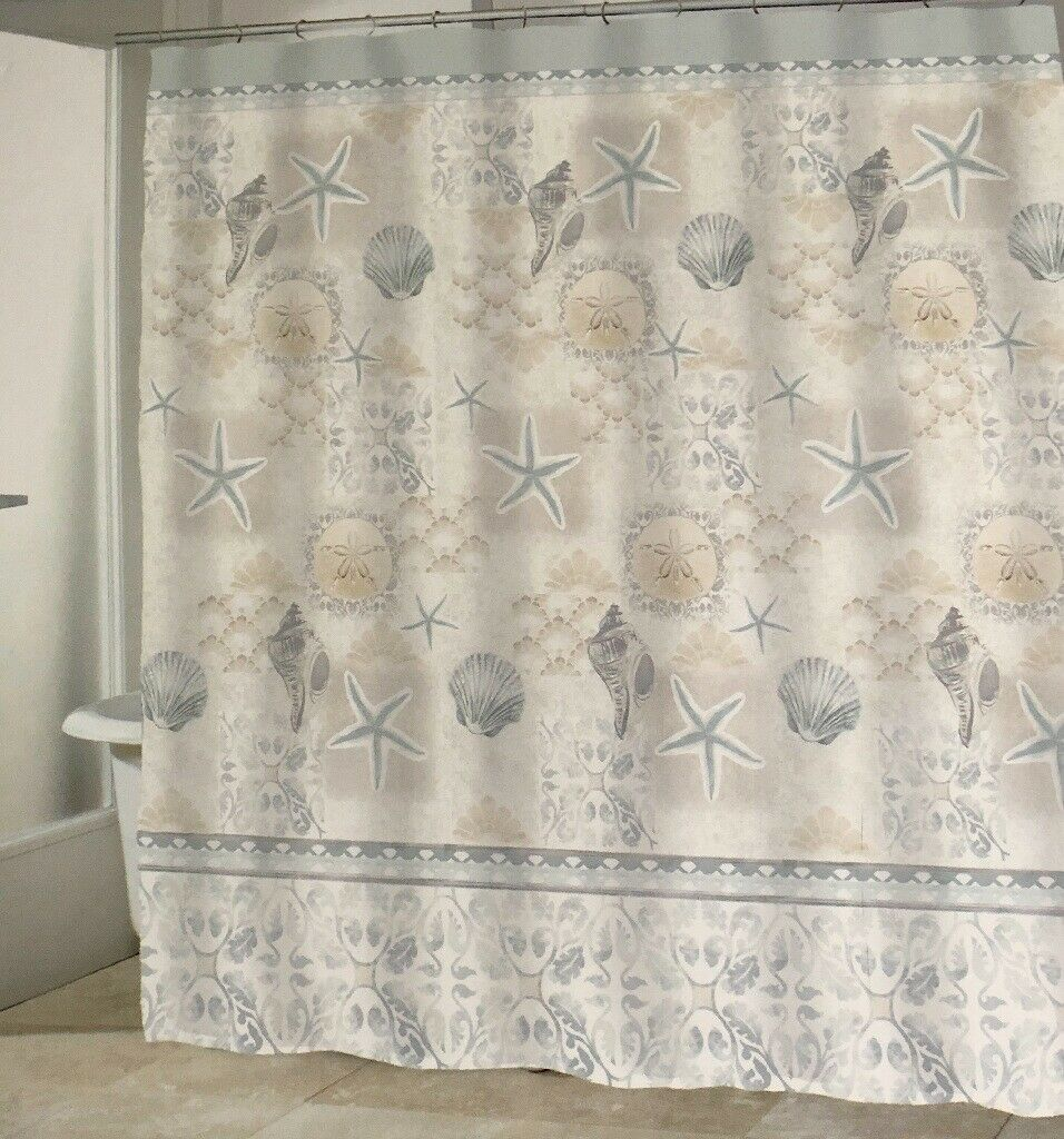 Starfish Shells Fabric Shower Curtain Coastal Nautical Beach Driftwood Bay