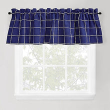 Durham Square Indigo 36 inch Tier Curtain Set or Valance Blue