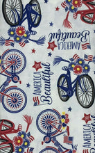 America The Beautiful Vinyl Flannel Back Tablecloth Patriotic Bicycles 52x 70 Oblong