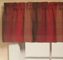 Brighton Plaid Red Valance Kitchen Curtain