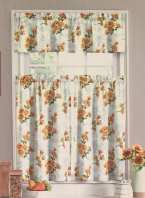Ellery Homestyles 36 inch Tiers and Valance Curtain Set Sunflower Script