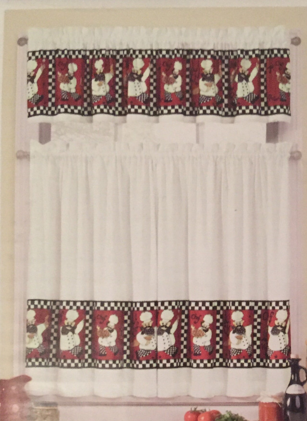 Red Fat Le Chef Tiers and Valance Kitchen Curtain Set