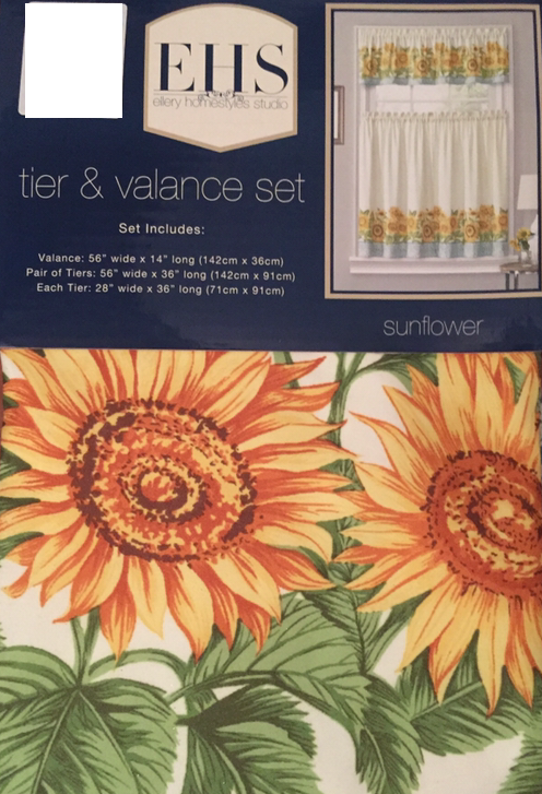 Ellery Sunflowers Kitchen Curtains 36L Tiers and Valance Set
