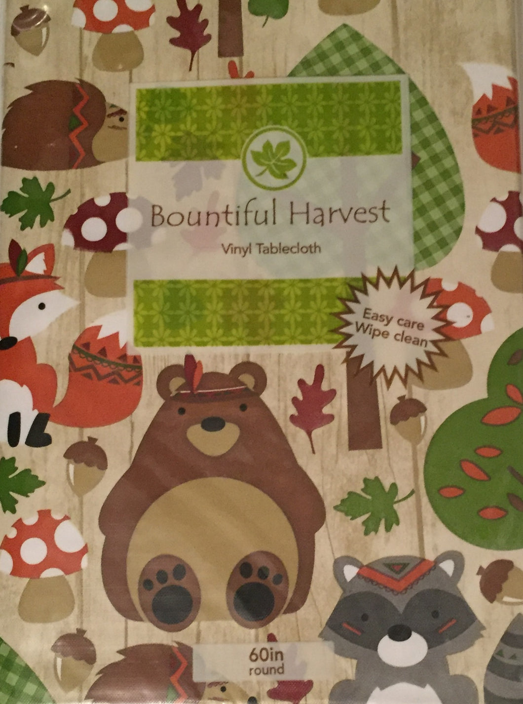Autumn Harvest Animals Vinyl Flannel Tablecloth Hedgehogs Bears Raccoons Foxes