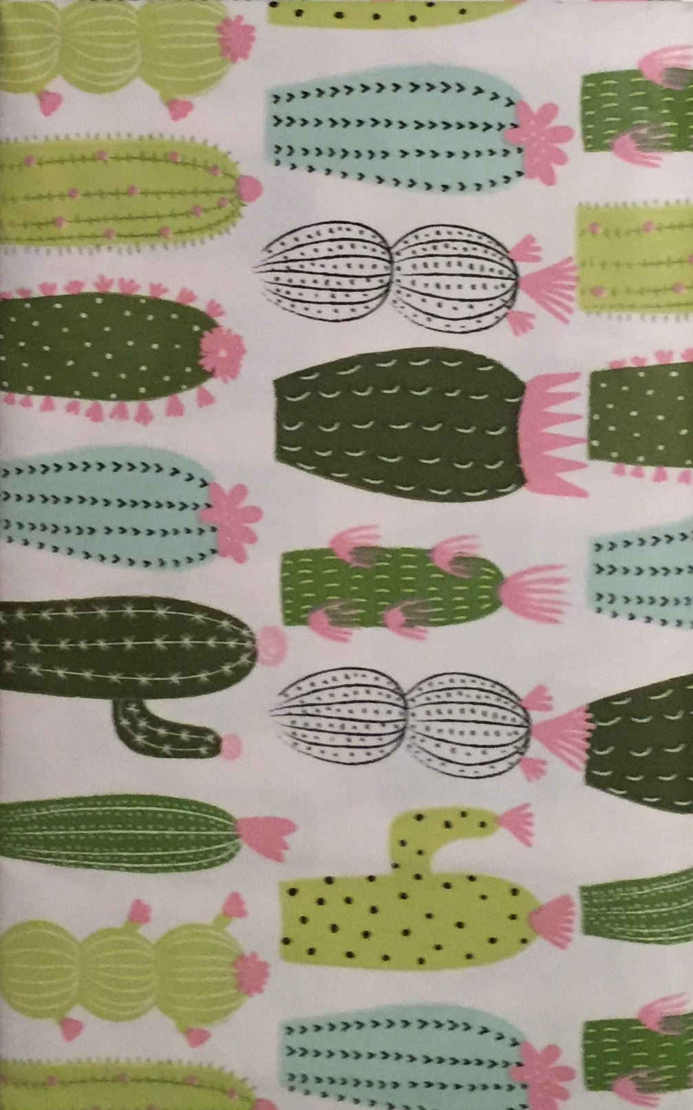 Elrene Vinyl Flannel Backed Tablecloth Green Pink 60 Inch Round Cactus Cacti