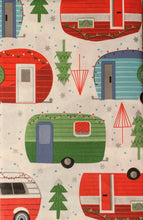 Christmas Campers Vinyl Flannel Tablecloth Various Sizes Vintage Trailer