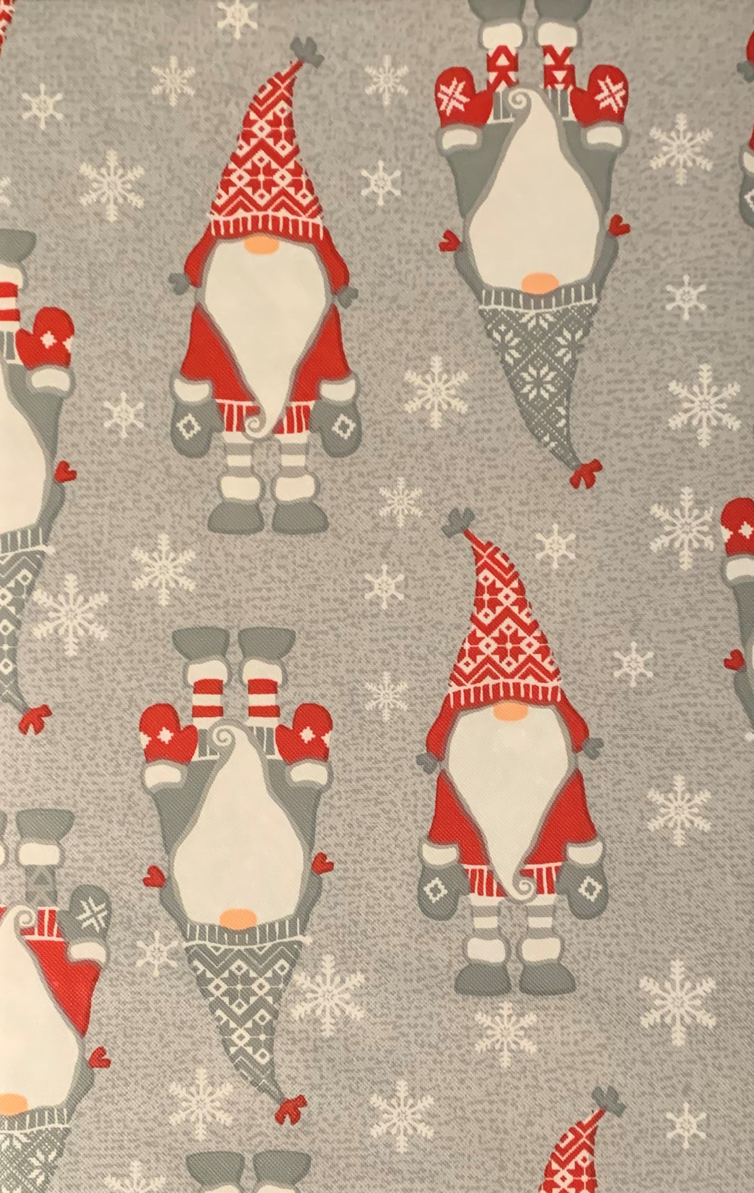 Christmas Gnomes Vinyl Flannel Tablecloth Various Sizes
