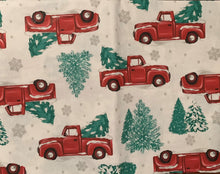 Christmas Trees and Pick Up Trucks Vinyl Flannel Tablecloth Various Sizes