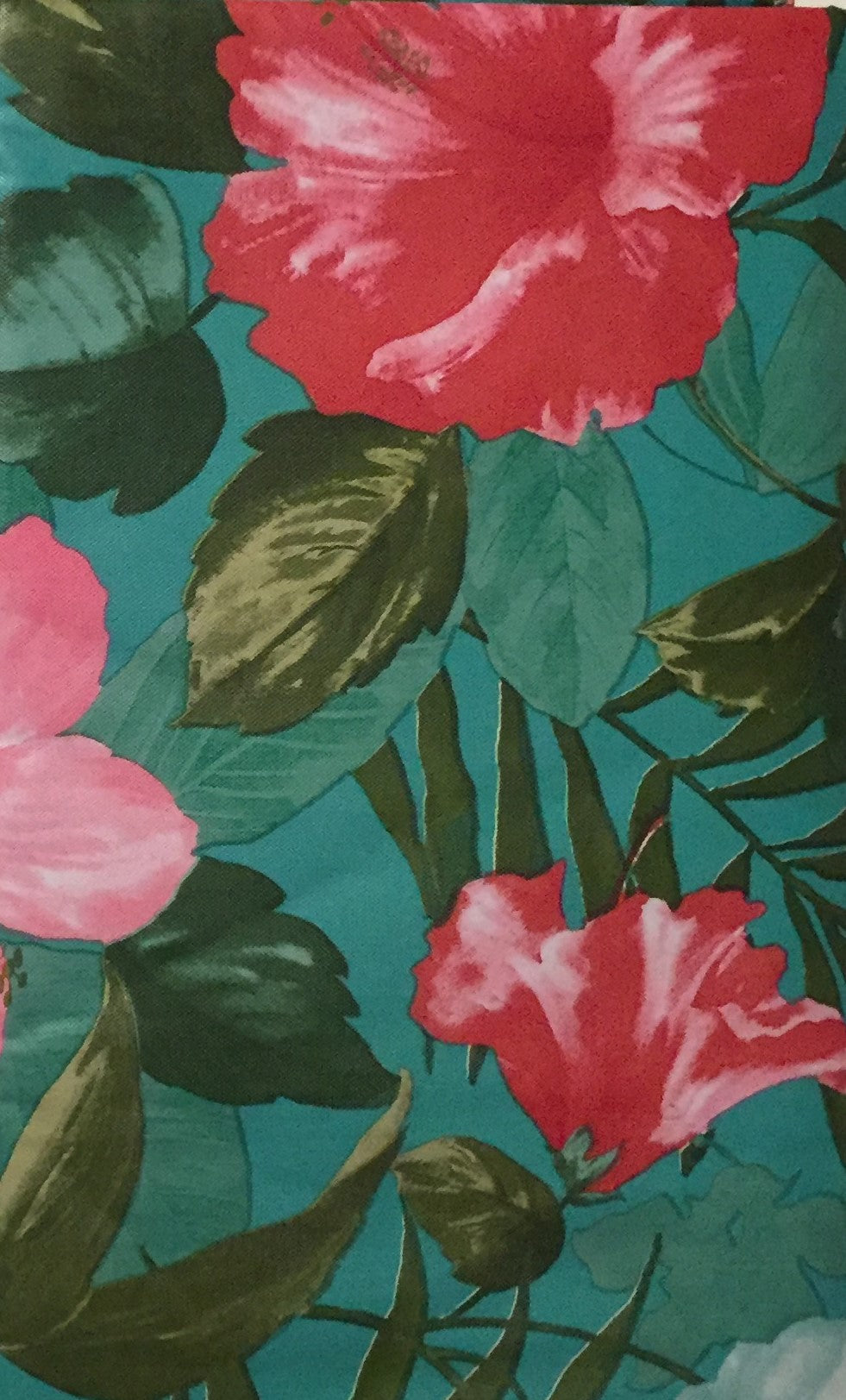 Elrene Vinyl Flannel Backed Tablecloth 60 Inch Round Tropical Hibiscus