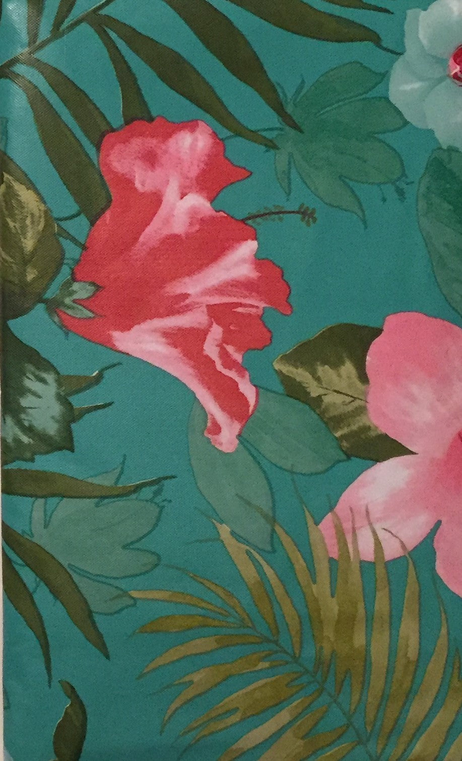 ... Elrene Vinyl Flannel Backed Tablecloth 60 Inch Round Tropical Hibiscus
