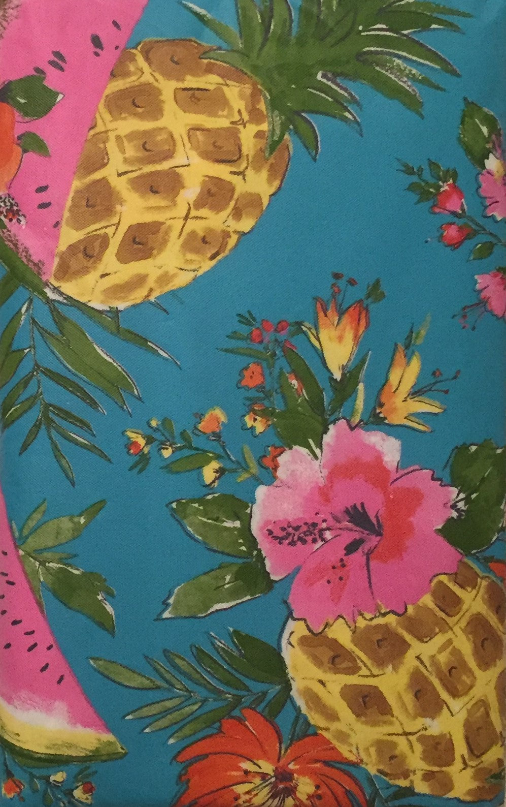 Elrene Vinyl Flannel Back Tablecloth 52 x 70 Oblong Pineapple Watermelon