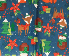 Christmas Vinyl Flannel Tablecloth Various Sizes Woodland Creatures Blue