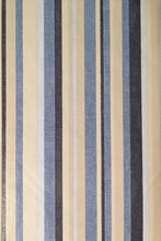 Elrene Coastal Blue Beige Striped Vinyl Flannel Back Tablecloth 60 Round