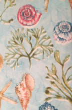 Seashells Vinyl Flannel Tablecloth 52 x 70 Oblong Starfish Coastal Shoreline