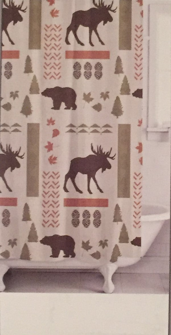 Wilderness Moose Bear Fabric Shower Curtain Lodge