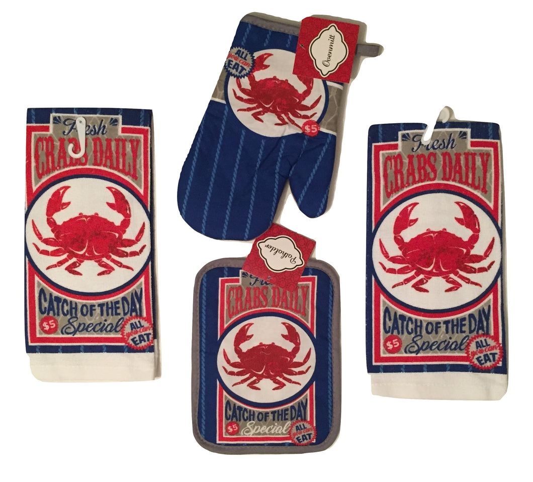Fresh Crabs Daily 4 pc kitchen towels potholder oven mitt set