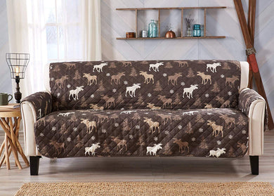 Lodge Moose Trees Cabin Reversible Furniture Protector Slipcover Sofa 75x110