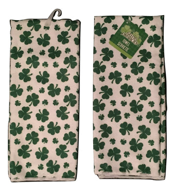 Kitchen Linen Set Saint Patricks Day Shamrocks Clovers Set of 2 Towels