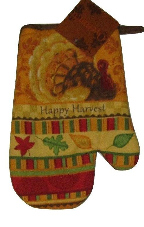 Oven Mitt Happy Harvest Turkey Leaves Autumn Thanksgiving
