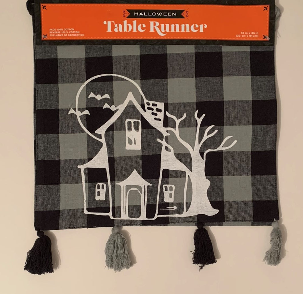 Black Plaid Haunted House Witch 13 x 36 Table Runner