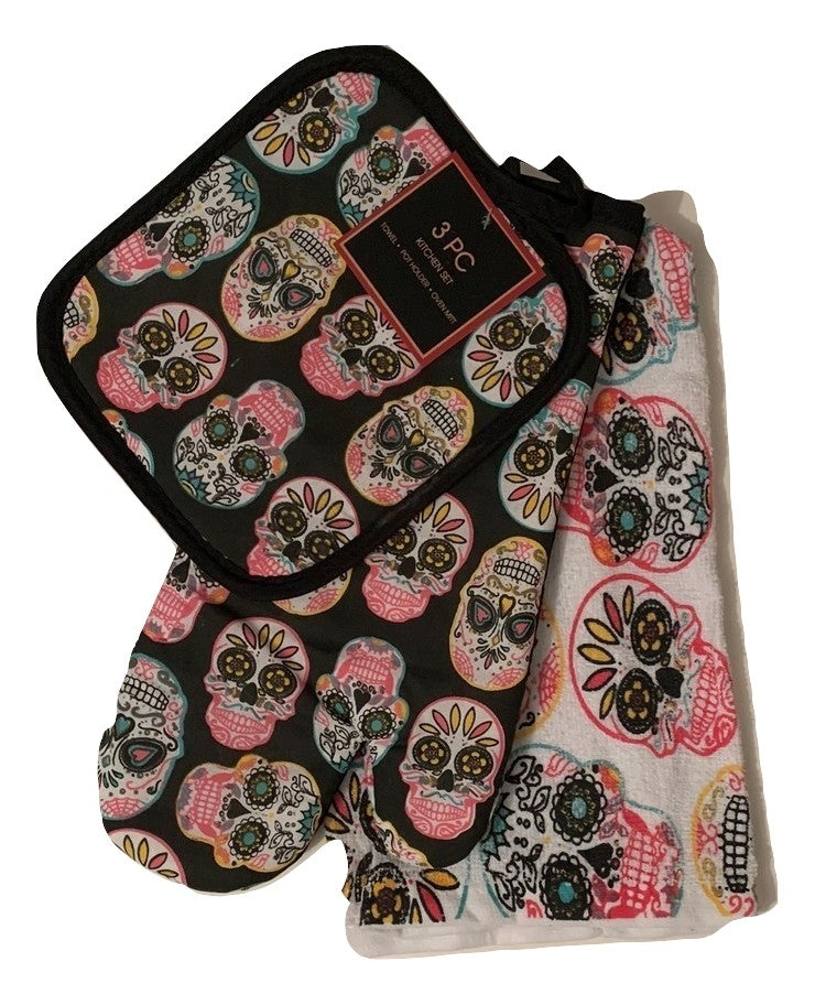 Hippie Sugar Skull Set of 3 Kitchen Linen Set Potholder Oven Mitt Towel