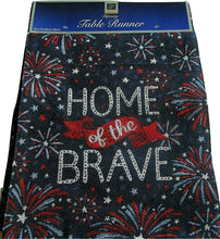 Patriotic Americana Tapestry Table Runner Home of the Brave Fireworks 72 inch
