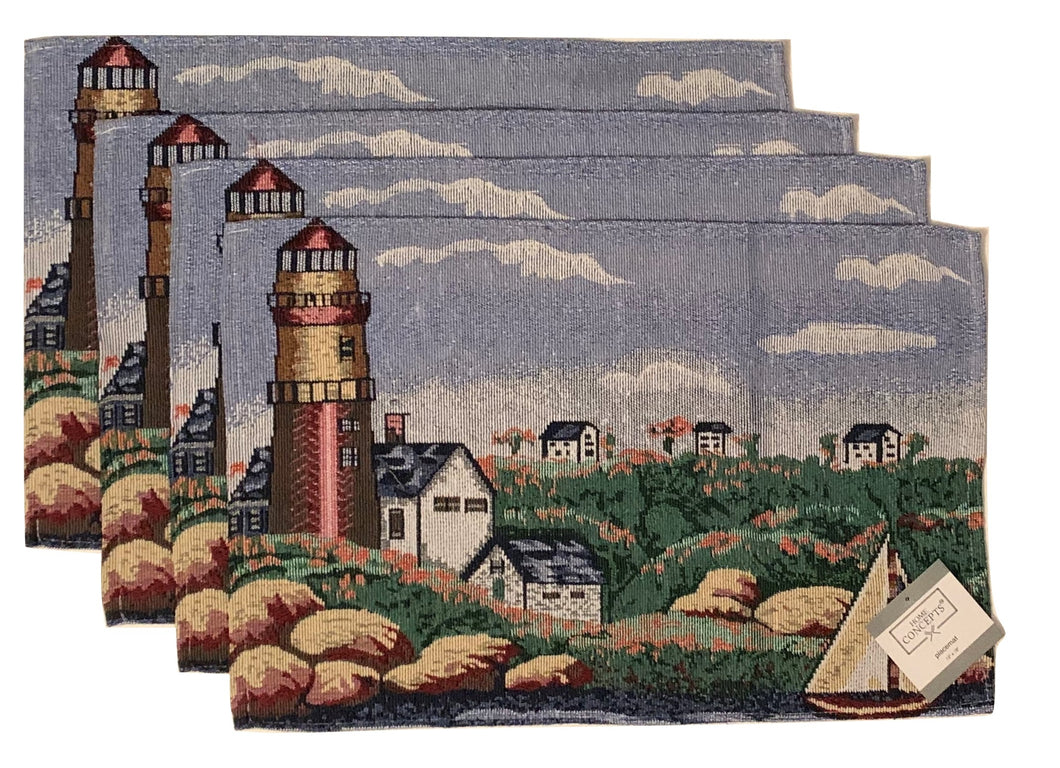 Tapestry Placemats Set of 4 Lighthouse Sailboat Nautical Coastal Town