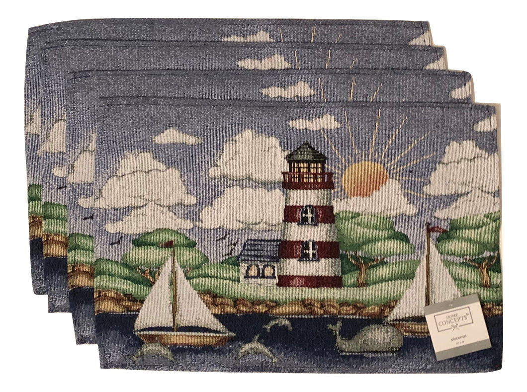 Tapestry Placemats Set of 4 Lighthouse Sailboat Nautical Coastal Town Sun Clouds