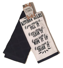 Homewear Towels Set of 2 Navy Blue White Kitchen Rules
