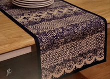 Indigo Stamp Table Runner in Blue 14 x 70 Cotton
