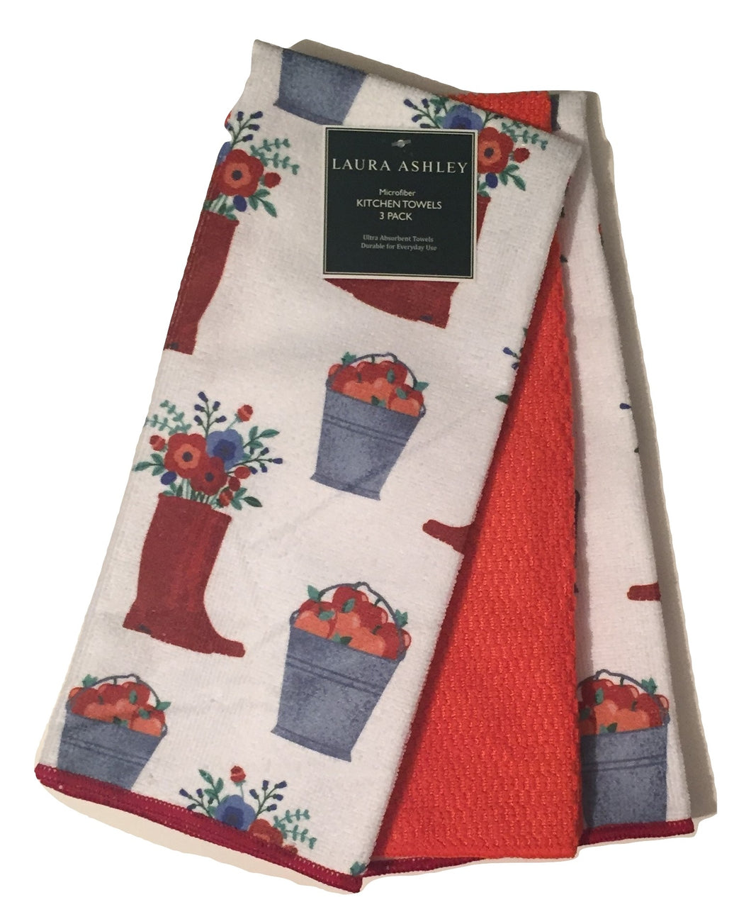 Kitchen Towels Set of 3 Garden Flowers Microfiber
