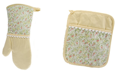 La Tea Cups Floral Oven Mitt and Potholder