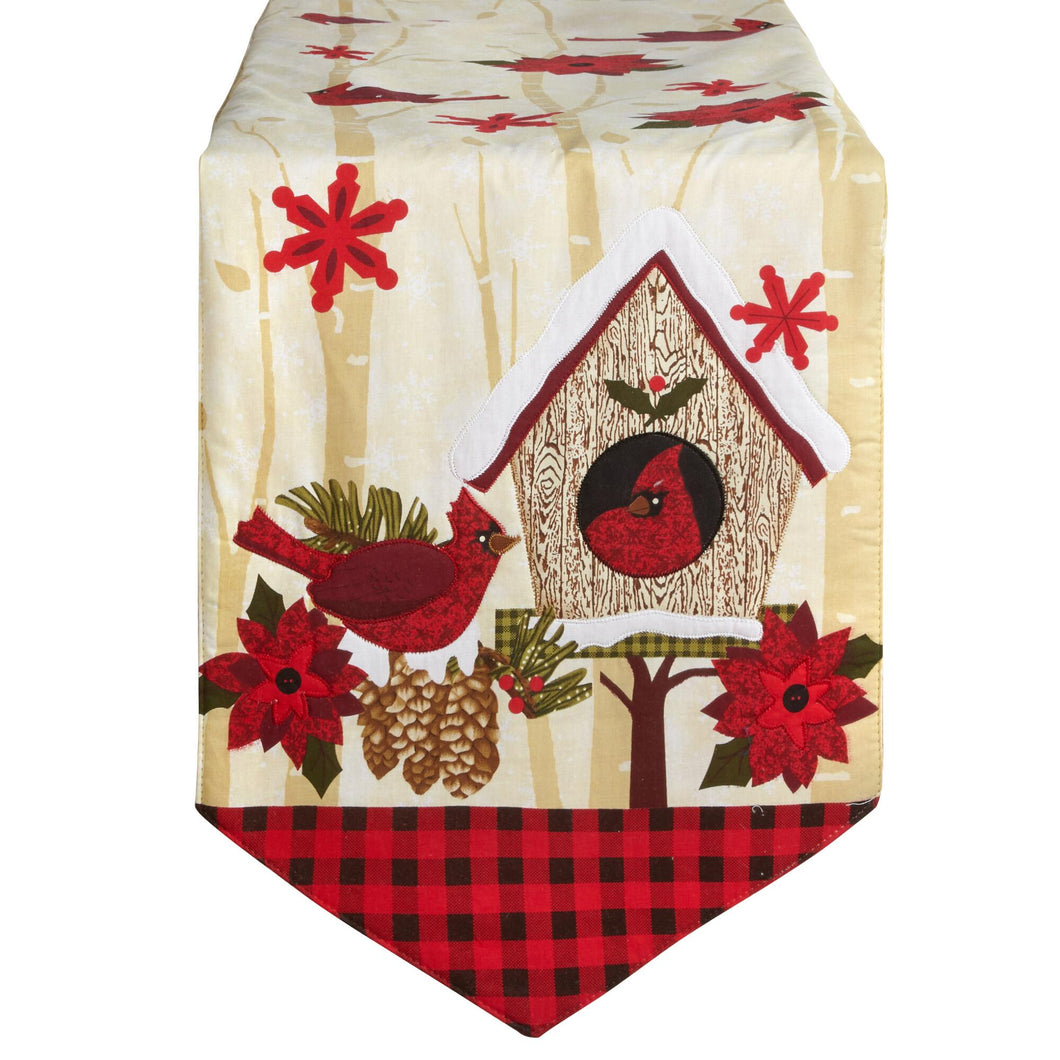 Red Checkered Christmas Cardinals Birdhouse Table Runner 13 x 72