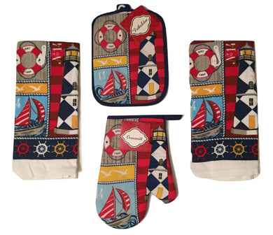 Lighthouse Sailboat 4 pc kitchen towels potholder oven mitt set