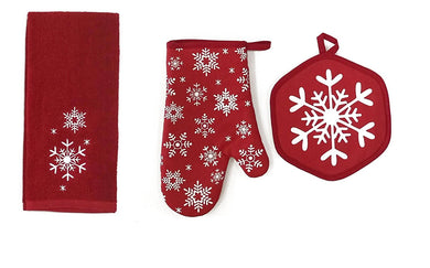Christmas Red White Snowflakes Kitchen Towel Oven Mitt Potholder Set