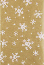 Christmas Snowflakes on Gold Vinyl Flannel Back Tablecloth 52 x 70 Oblong