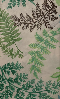 Botanical Leaves Vinyl Flannel Back Tablecloth 60 Round