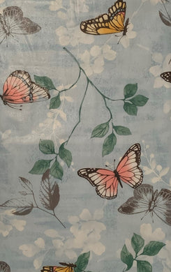 Butterflies and Leaves on Blue Vinyl Flannel Back Tablecloth 52 x 90 Oblong