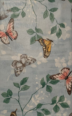 Butterflies and Leaves on Blue Vinyl Flannel Back Tablecloth 52 x 70 Oblong