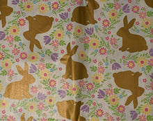 Gold Foil Easter Bunnies and Flowers 52x70 Oblong Vinyl Flannel Back Tablecloth