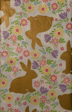 Gold Foil Easter Bunnies and Flowers Vinyl Flannel Back Tablecloth 60 Round