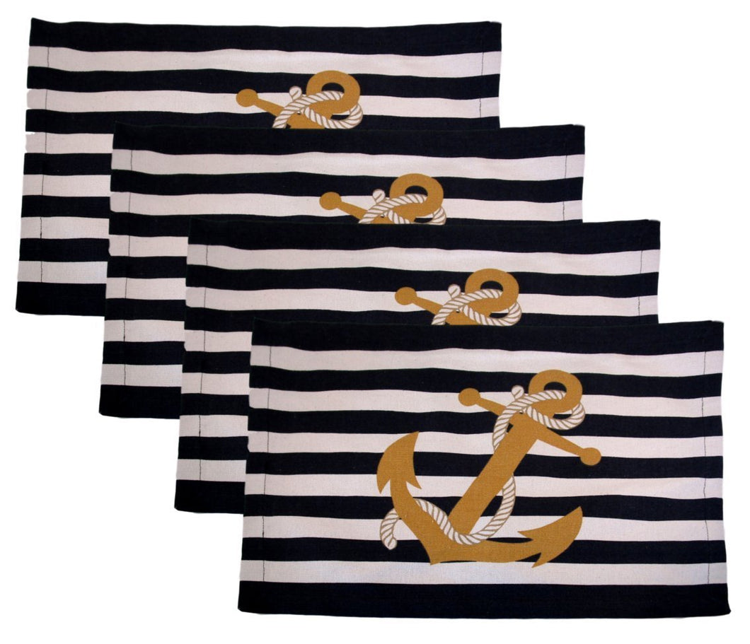 Nautical Placemats Anchor on Blue Stripes Set of 4