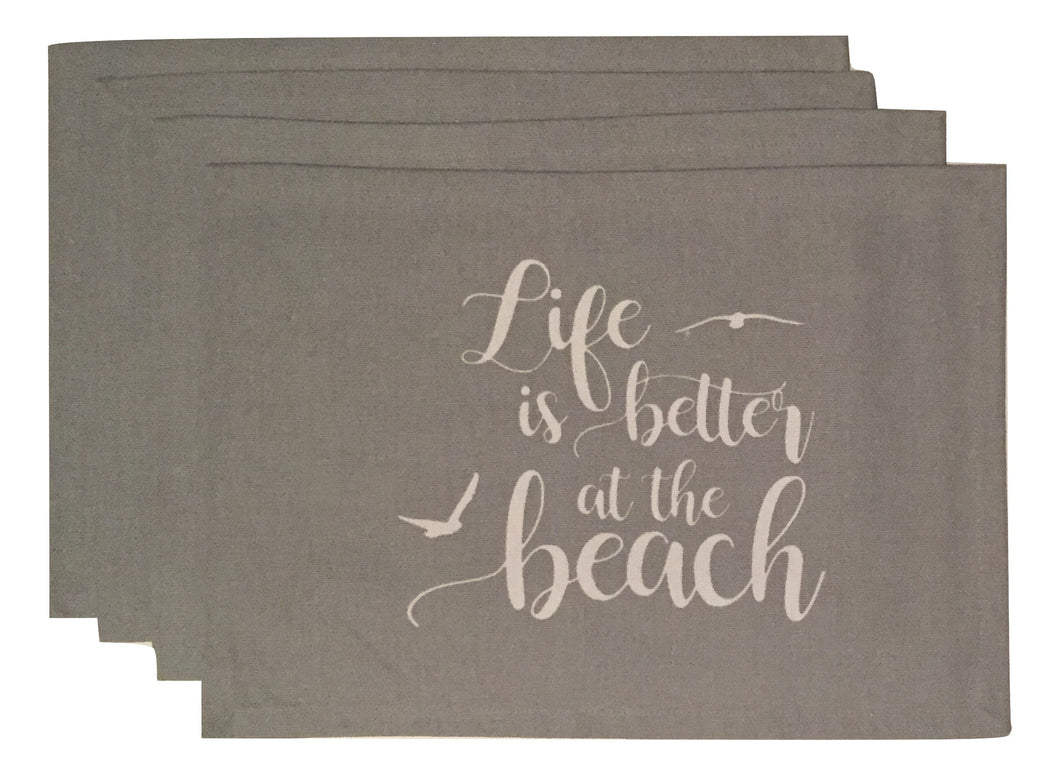 Coastal Placemats Lifes Better At The Beach Set of 4 Gray