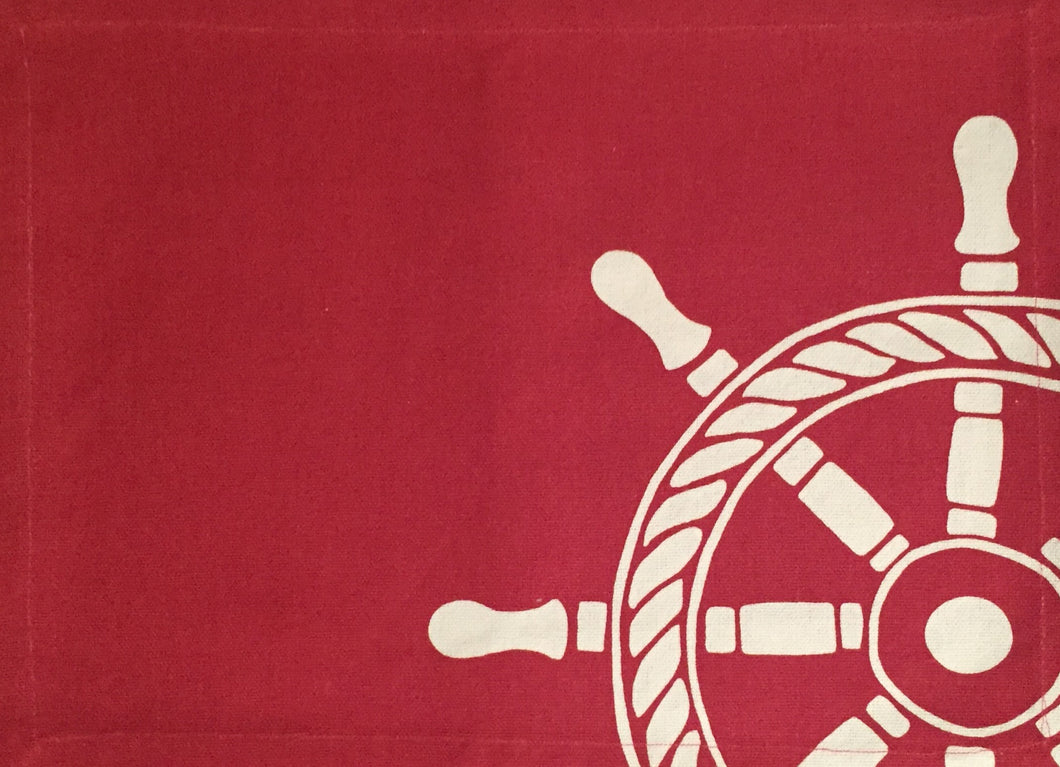 Coastal Nautical Ships Wheel Cotton Canvas Placemats Set of 4 Red